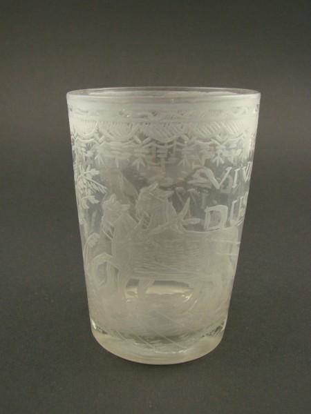 "Barock - Becherglas ""VIVAT ....."", mit Mattgravur, 18.Jh."