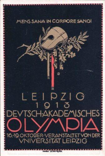 Studentika - offizielle Postkarte Deutsch-Akademisches Olympia / Sportfest, Universität Leipzig, 191