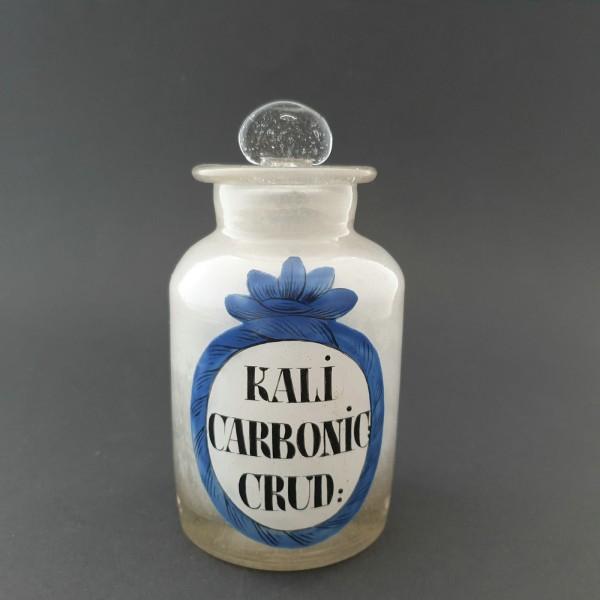 """Apothekenflasche """"KALI CARBONIC: CRUD:"""".Deutschland, um 1800."""
