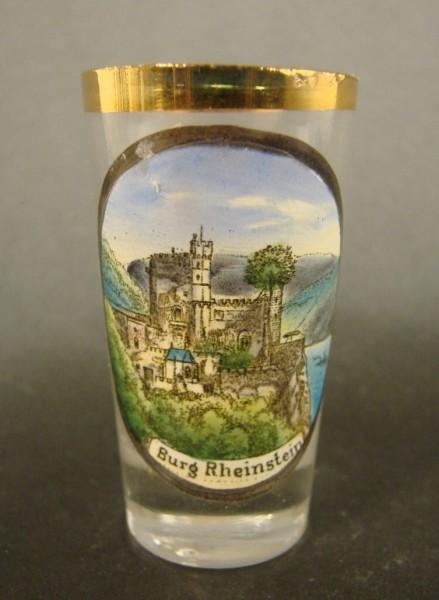 Andenken-, Schnapsglas BURG RHEINSTEIN / Bingen, ca. 1910.