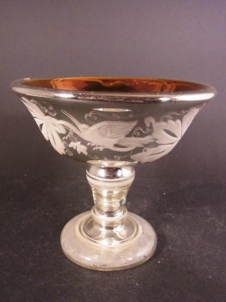 Bauernsilber / Silberglas Aufsatzschale / Tazza, 19.Jh.