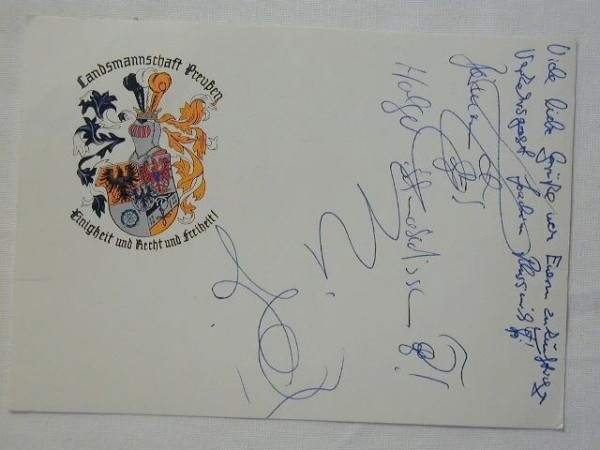 Studentika - Postkarte Landsmannschaft Preußen