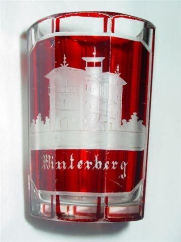 Ansichten-, Becherglas von WINTERBERG. Böhmen, um 1850.