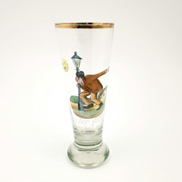 """Bierglas / Scherzglas """"Guter Mond, Du gehst so stille"""", um 1900."""