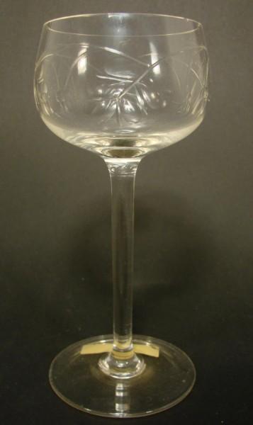 Jugendstil - Weinglas mit Schliffdekor, um 1920.