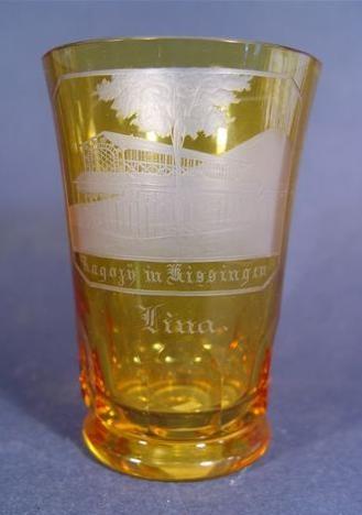 b675 / Becherglas mit Ansicht KISSINGEN, 19.Jh.