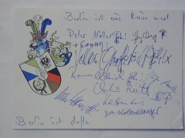 Studentika - Wappenkarte THURINGIA BERLIN, gelaufen