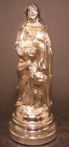 Bauernsilber / Silberglas Christusfigur. Ende, 19.Jh.