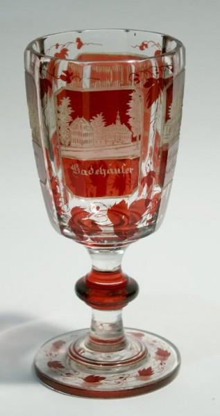 Ansichten-, Fussbecherglas BAD REHBURG. Widmung 1860.