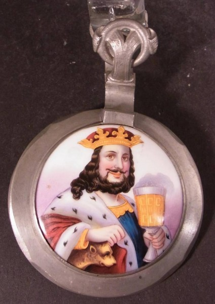 Bierkrugdeckel mit Porzellaneinsatz BACCHUS, 19.Jh.