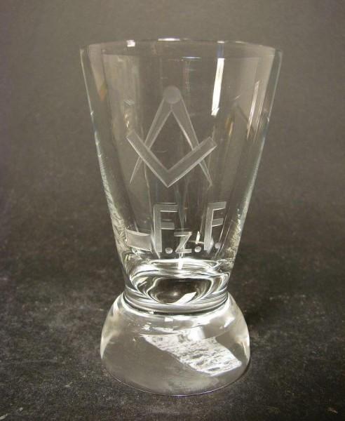 Freimaurer - Logenglas mit Zirkel und Winkel F.z.F.
