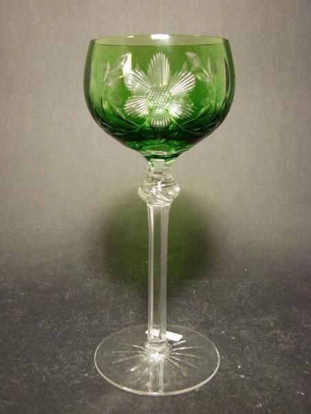 Überfangrömer / Weinglas mit Blumenschliff, Mitte 20.Jh.