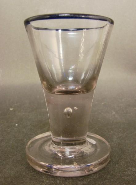 Barock - seltener Wachtmeister / Schnapsglas mit Blaurand und Löwenmarke. Weserbergland, Lauensteine