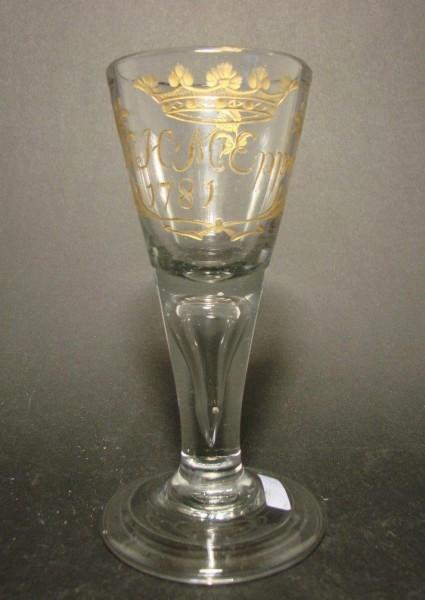 Barock - Pokalglas mit bekröntem Monogramm. Norddeutsch, datiert 1781.
