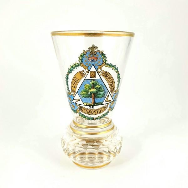 """Freimaurer - seltenes Logenglas """"Loge zur Ceder"""" Hannover, Widmung 1921."""