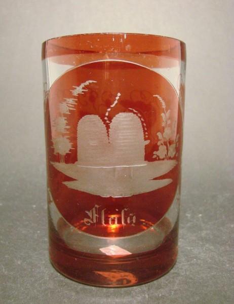 "Biedermeier - Becherglas mit Bienenkorbsymbol ""Fleiß"", 19.Jh."