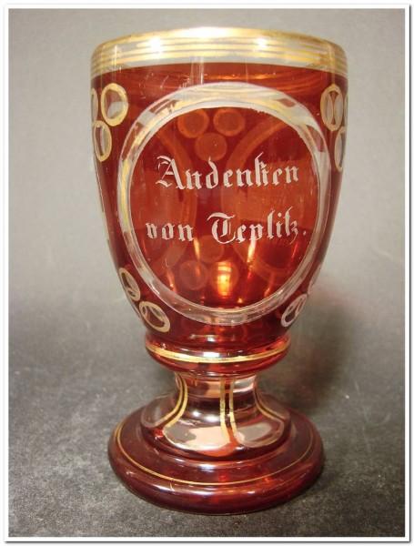Andenken-, Fussglas TEPLITZ / Teplice, um 1860.