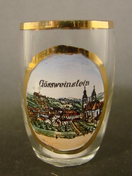 Andenken-, Schnapsglas GÖSSWEINSTEIN / Sächsische Schweiz, um 1910.