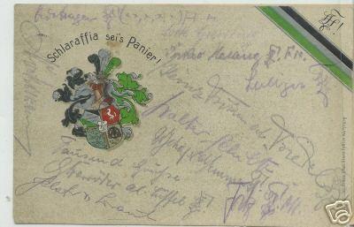 Studentika - Wappenpostkarte Schlarafffia 1925, gelaufen