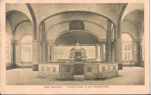 Postkarte BAD SALZUFLEN / Trinkbrunnen in der Wandelhalle, gelaufen 1925.