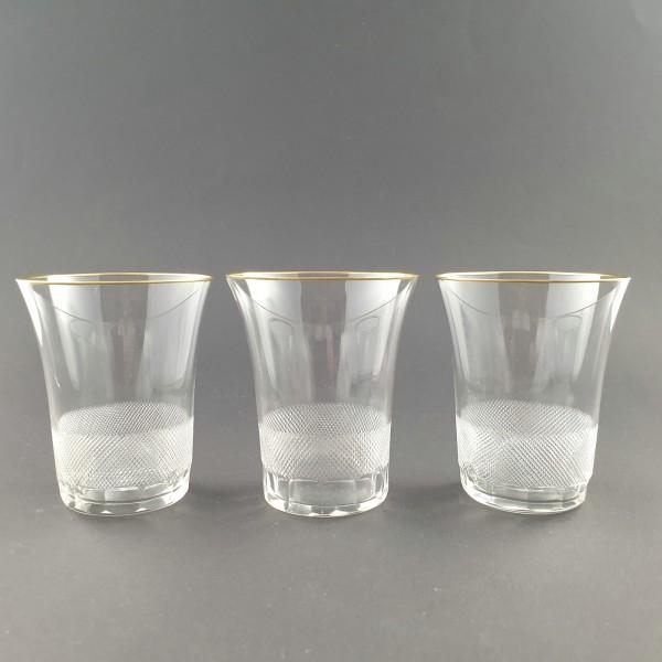 3 Wasser-, Bechergläser der Serie LLOYD, von Moser 1922.