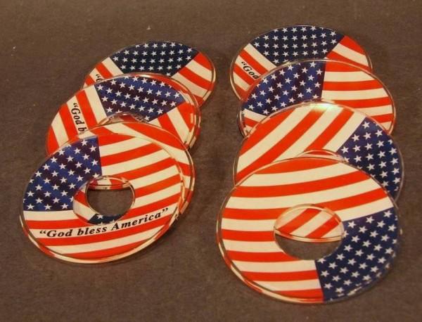 "la017 / 6 Leuchteruntersetzer ""God bless America""."