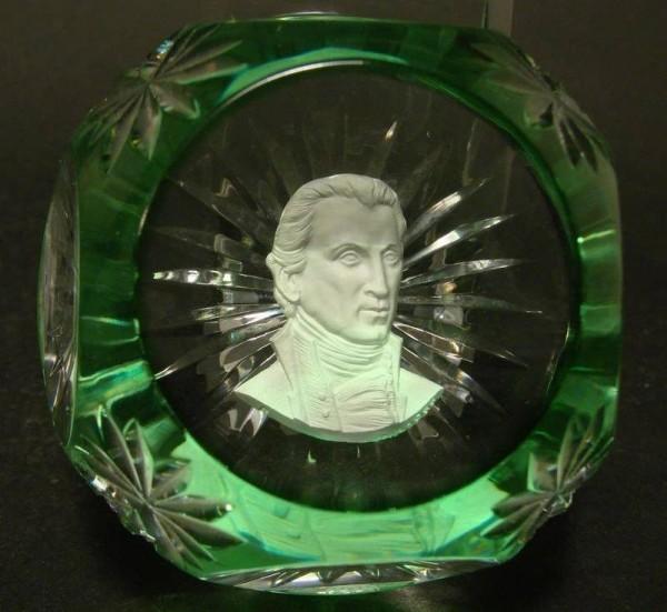 Paperweight - Sulphide Porträt de 5. Präsident der Vereinigten Staaten JAMES MONROE, Baccarat.