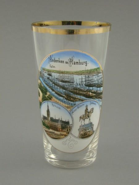Andenkenglas HAMBURG mit 3 Ansichten, um 1900.