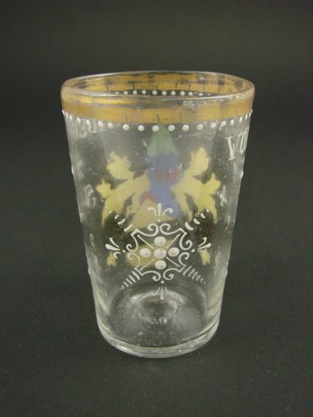 """Wappenglas """"VON FLACHS LANDEN 1458"""", signiert Fritz Heckert."""