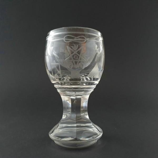 Freimaurer - seltenes Logenglas mit Widmung, Deutschland 1915.