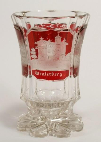 Ansichten-, Fussbecherglas BAD SCHANDAU / WINTERBERG / PREBISCHTHOR. Böhmen, um 1850.