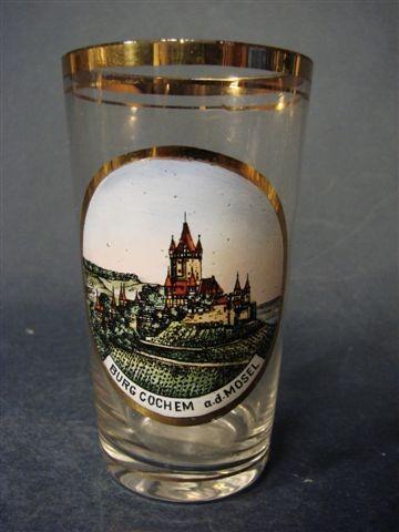 Andenken-, Becherglas BURG COCHEM a.d. MOSEL, um 1920
