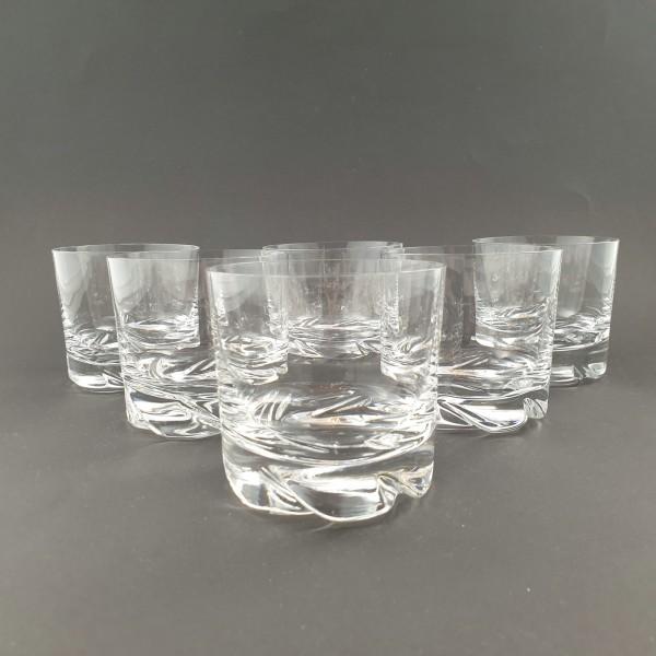 6 Wasser-, Whiskygläser, signiert Daum France.