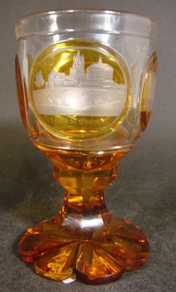 Kleines Pokalglas mit Ansichten von BADEN-BADEN, 19.Jh.