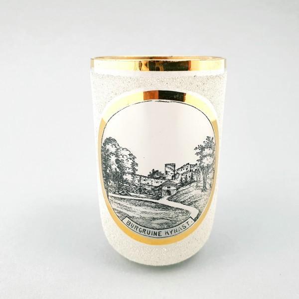 """Andenken-, Ansichten-, Becherglas """"Burgruine KYNAST"""", Schlesien."""