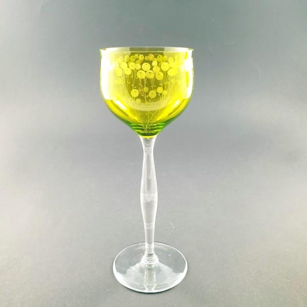 Jugendstil - Weinglas / Stängelglas, Entwurf Carl Lederle. Gräflich Harrachsche Hütte, Neuwelt 1901.