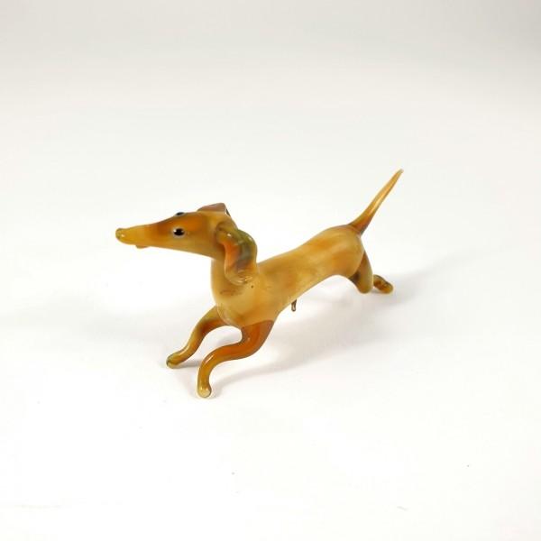 Lauscha - Hund / Dackel, vor der Lampe geblasenes Glas.