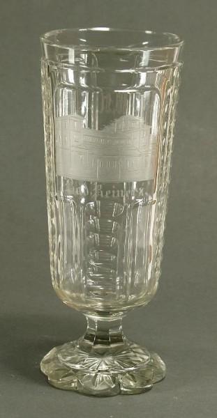 Ansichten-, Fussbecherglas BAD REINERZ. Böhmen, um 1870.