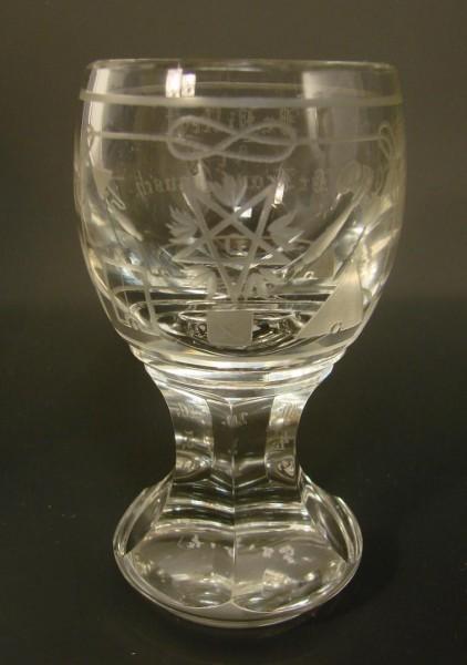Freimaurer - sehr seltenes Logenglas mit Widmung, ca. 1915.