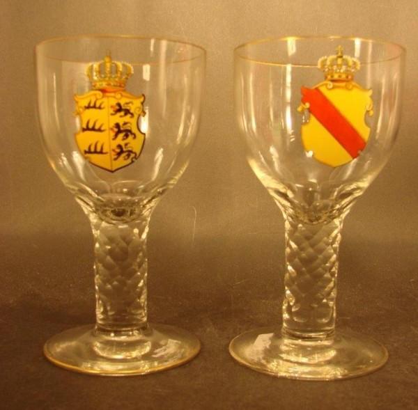 2 Pokalgläser mit den Wappen von WÜRTTEMBERG und BADEN, 19.Jh.