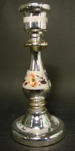 Bauernsilber / Silberglas Kerzenleuchter, um 1900.