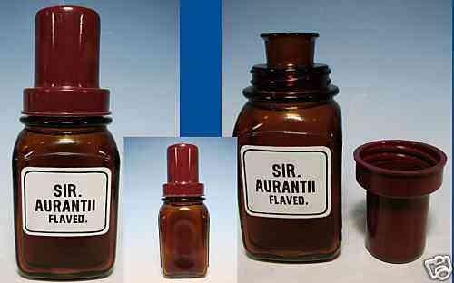 Apothekenflasche SIR. AURANTII FLAVED. mit Bakelit-Schraubverschluss, 30er Jahre.