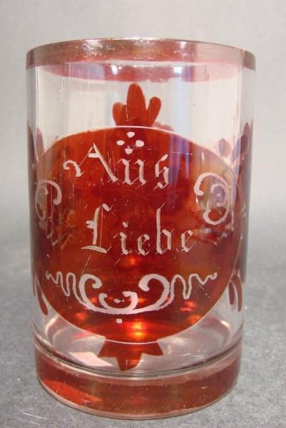 """Biedermeier - Becherglas """"AUS LIEBE"""", 19.Jh."""