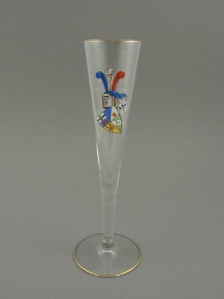 Studentika - Sektglas mit Vollwappen und Zirkel.