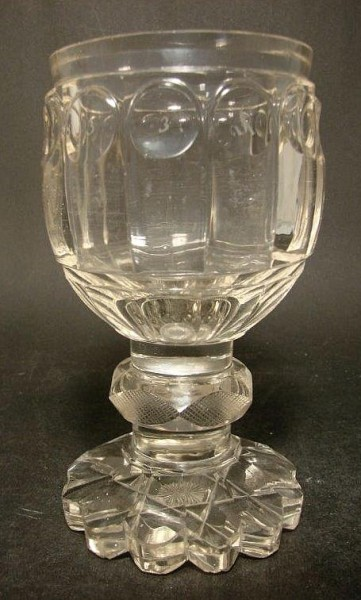 Biedermeier - Pokalglas KARLSBAD, datiert 1833.