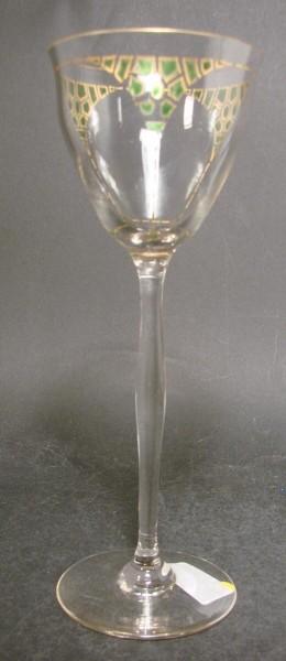 Weinglas / Stängelglas, handbemalt. Theresienthal, um 1910.