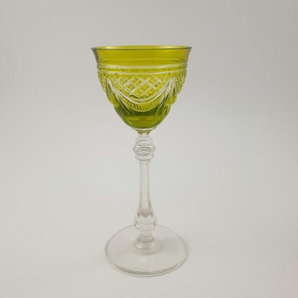 Jugendstil - Römer / Weinglas mit Überfang. Wohl Baccarat oder St. Louis, um 1920.