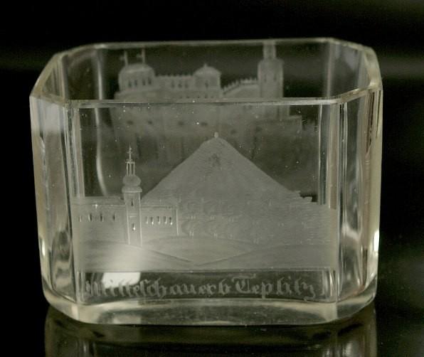 Ansichten-, Glasschale. Böhmen, um 1850.