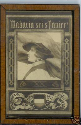 Studentika - Postkarte MAKARIA MACARIA STRASSBURG im Aufstellrahmen, 1911