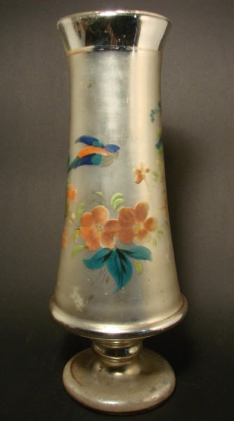 Bauernsilber / Silberglas Vase, handbemalt, um 1900.